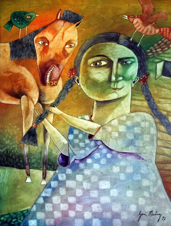 Guajira with horse and braid